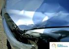 naprawa blacharska Białystok, Warszawa, Ełk, SztukaLakierowania - maska samochodu po wypadku, bardzo dużo wgnieceń na samochodzie, kilka elementów do wymiany