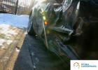 usługi blacharskie Białystok, Warszawa, Ełk - czarna Mazda RX-8 po wypadku, wgnieciony cały bok