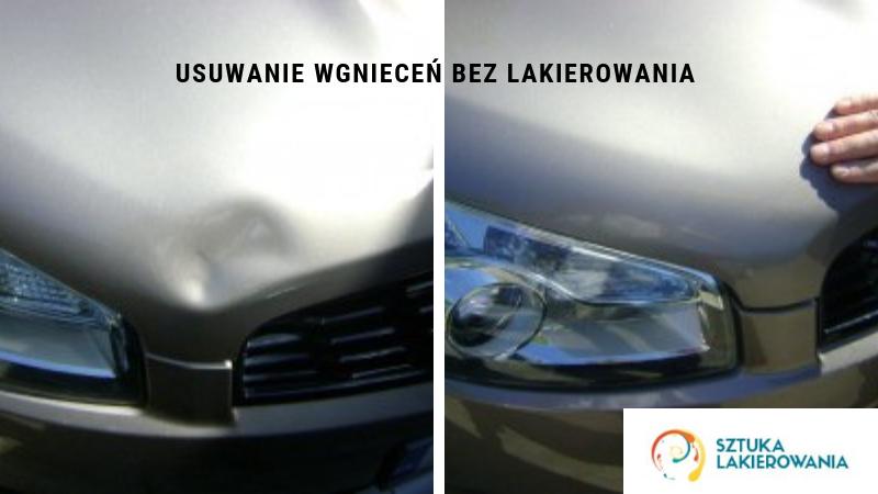 usuwanie wgnieceń bez lakierowania - efekty bezinwazyjnego usuwania wgniecenia na samochodzie o srebrnym lakierze w Sztuka Lakierowania Białystok